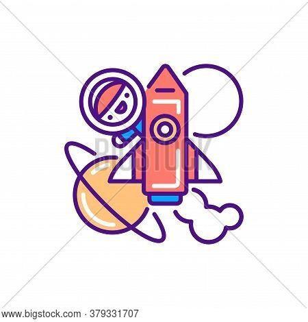 Space Tourism Line Color Icon. Cute Character In Spaceship Kawaii Pictogram. Sign For Web Page, Mobi