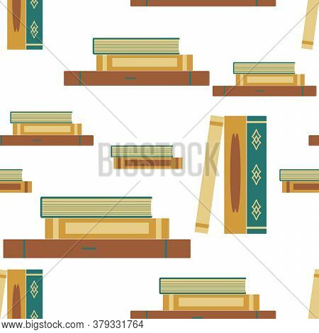 Books Stand And Lie In Piles. Seamless Pattern. Flat Design, Vector Interior Illustration. Backgroun