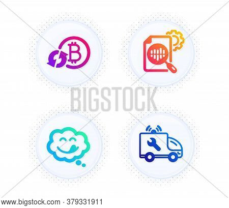 Refresh Bitcoin, Yummy Smile And Seo Stats Icons Simple Set. Button With Halftone Dots. Car Service