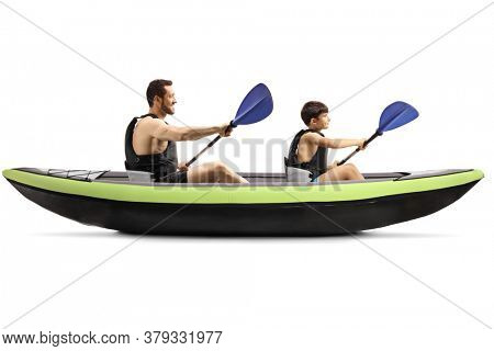 Man and a child with safety vests paddling in a canoe isolated on white background