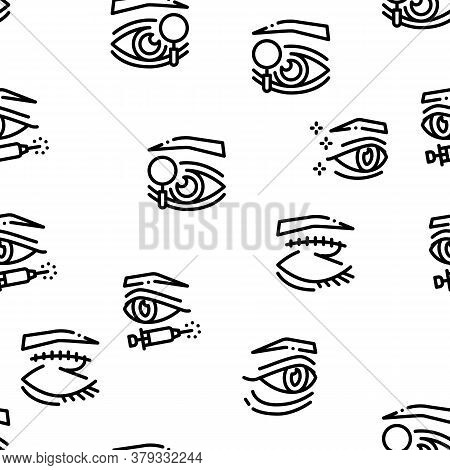 Eyelid Surgery Healthy Seamless Pattern Vector Thin Line. Illustrations