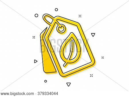 Leaf Sign. Bio Shopping Tags Icon. Natural Products Symbol. Yellow Circles Pattern. Classic Bio Tags