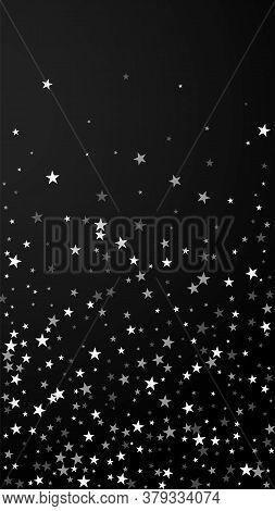 Random Falling Stars Christmas Background. Subtle Flying Snow Flakes And Stars On Black Background.