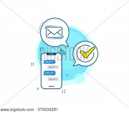 New Newsletter Sign. Phone Messages Complex Icon. Messenger Mail Line Icon. Phone E-mail Symbol. Mes