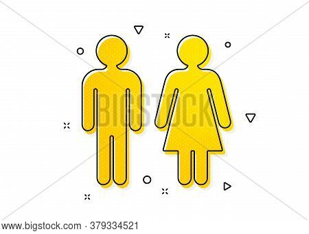 Wc Toilet Sign. Restroom Icon. Public Lavatory Symbol. Yellow Circles Pattern. Classic Restroom Icon