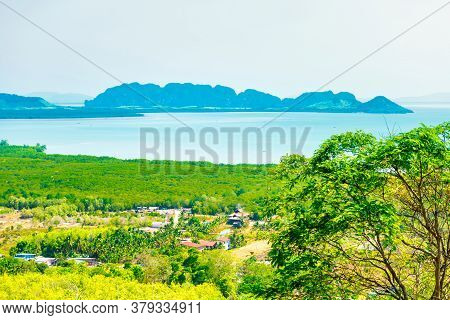 View From Green Mountain To Ko Lanta Thailand Sea Landscape With Many Islands
