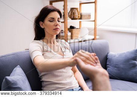 Hypnotherapy Psychotherapy Treatment. Woman Hypnotized By Hypnotist