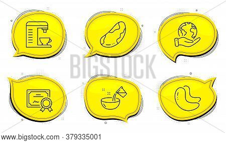 Cooking Water Sign. Diploma Certificate, Save Planet Chat Bubbles. Coffee Machine, Brazil Nut And Ca
