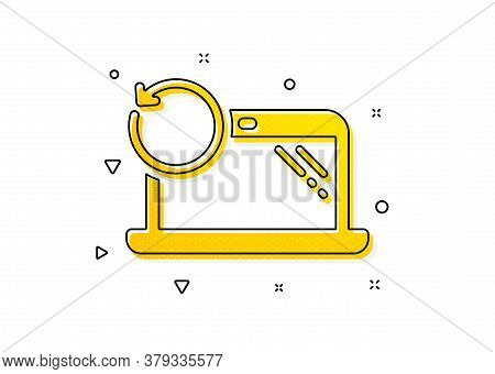Backup Data Sign. Recovery Laptop Icon. Restore Smartphone Information Symbol. Yellow Circles Patter
