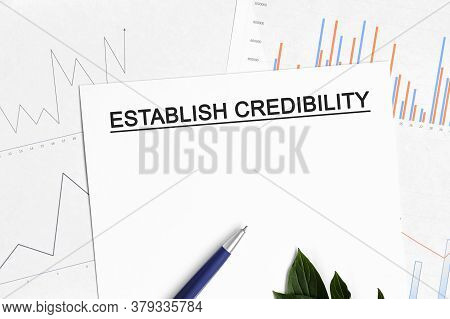 Establish Credibility Document With Graphs, Diagrams And Blue Pen