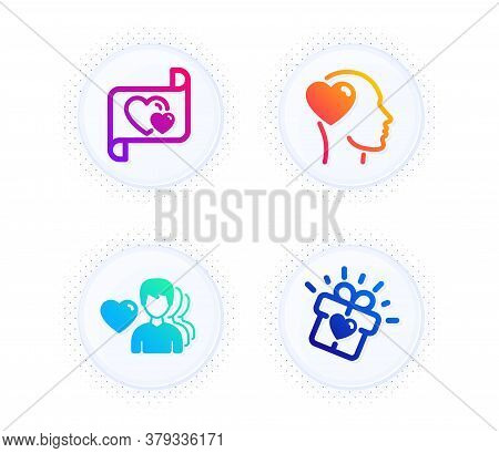 Man Love, Friend And Love Letter Icons Simple Set. Button With Halftone Dots. Romantic People, Heart