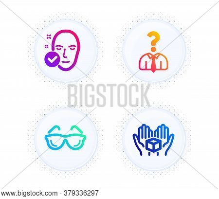 Health Skin, Eyeglasses And Hiring Employees Icons Simple Set. Button With Halftone Dots. Hold Box S