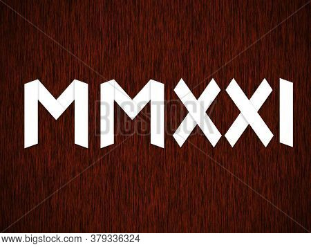 New Year 2021 written in Roman numerals on dark red background