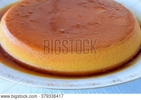 Traditional French Creme Brulee Dessert With Caramelized Sugar On Top/ Croatian Rozata/ Rozada Serve