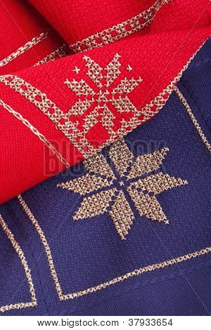 blue and red Christmas quilt