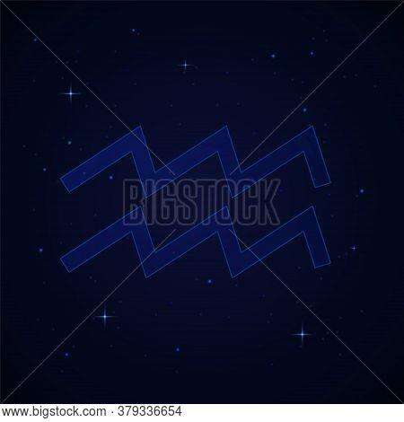 Aquarius, The Water Bearer Zodiac Sign On The Starry Night Sky
