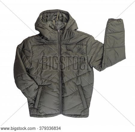 Mens Hakki Jacket In A Hood Isolated On A White Background. Windbreaker Jacket Top View. Casual Styl