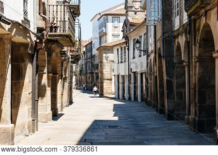 Santiago De Compostela, Spain - July 18, 2020: Old Street With Arcades In Medieval Town
