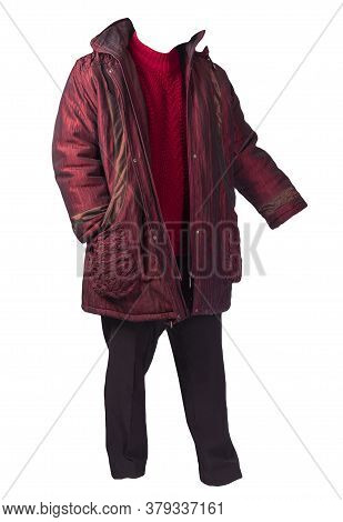 Womens Black Pants, Autumn Dark Red Coat And Knitted Red Sweater Isolated On A White Background. Fas