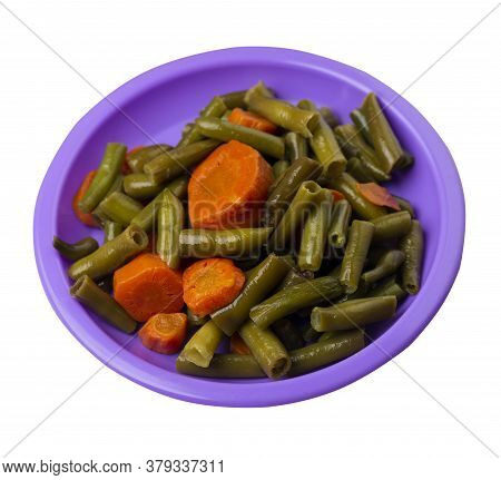 Green Beans With Garlicand Carrots On Purple Plate Isolated On White Background.green Beans With Car
