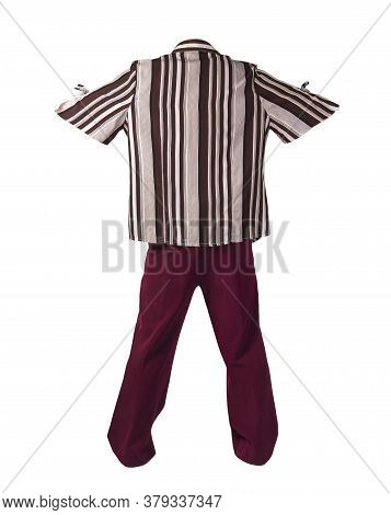 Women`s Dark Red Trousers With Brown Beige Striped Blouse Isolated On White Background .fashion Clot