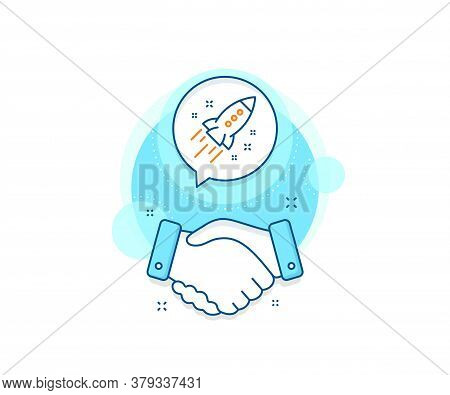 Launch Project Sign. Handshake Deal Complex Icon. Startup Rocket Line Icon. Innovation Symbol. Agree