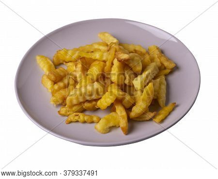 French Fries On A Plate Isolated On White Background.french Fries On Light Gray Plate Top View .junk