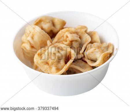 Dumplings On White Plate Isolated On White Background. Dumplings In Tomato Sauce. Dumplings Top Side