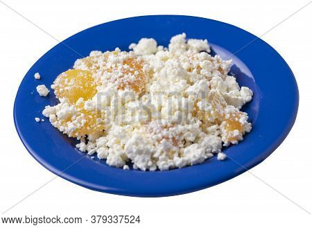 Cottage Cheese With Peaches On Blue Plate Isolated On White Background. Cottage Cheese Top Side View