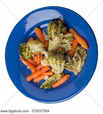 Provencal Vegetables On A Plate.grilled Vegetables On A Plate Isolated On White Background.broccoli