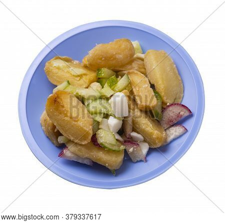 Potato Wedges With Vegetables On Light Blue Plate Isolated On White Background. Junk Food . Rustic F