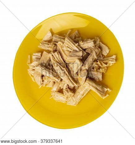 Soy Asparagus Noodles On Yelow Plate, Isolated On A White Background. Healthy Food . Asian Food. Soy