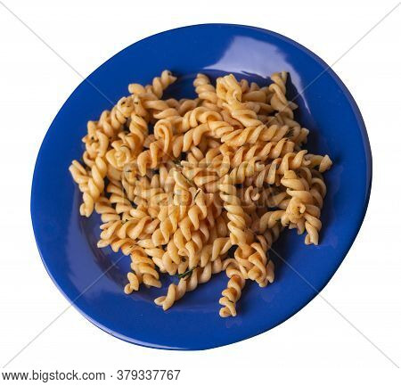Pasta On A Blue Plate Isolated On White Background. Pasta In Tomato Sauce With Dill. Pasta Top Side
