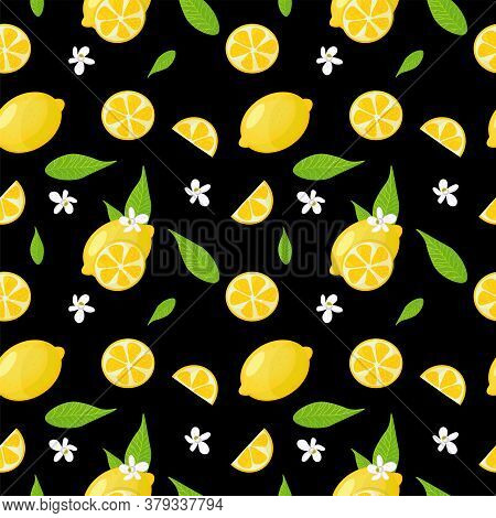 Seamless Pattern With Whole Lemons, Lemon Slices, Flowers And Leaves. Vector Design.