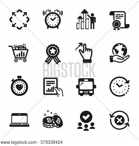 Set Of Technology Icons, Such As Time Change, Reject Refresh. Certificate, Approved Group, Save Plan