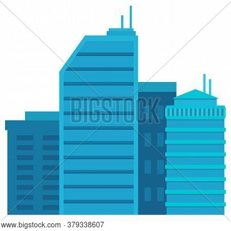 Skyscraper In Blue Color, Exterior Of High Building With Windows. Cityscape View, Business Construct