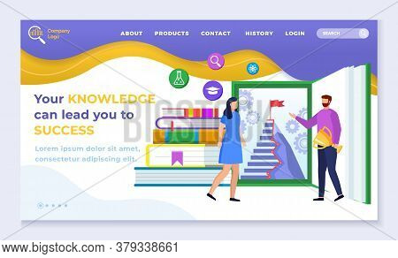Your Knowledge Can Lead You To Success. Designed Web Page, Navigation Menu. Man And Woman Stand Near