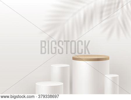 White Cylinder Podium For Product Presentation. Podium Stage On A Wall Background With A Palm Tree B