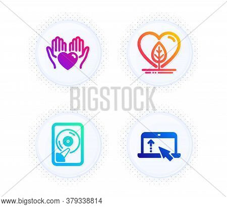 Hold Heart, Hdd And Local Grown Icons Simple Set. Button With Halftone Dots. Swipe Up Sign. Care Lov