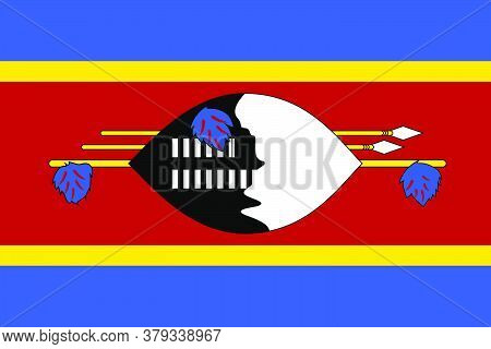 Flag Of Eswatini. Vector Illustration As Background