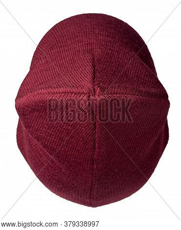 Womens Dark Red Hat Top View . Knitted Hat Isolated On White Background.