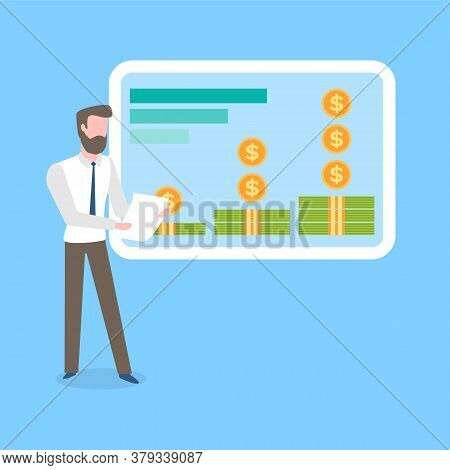 Investment Data Vector, Man Holding Piece Of Paper Giving Presentation With Information About Money