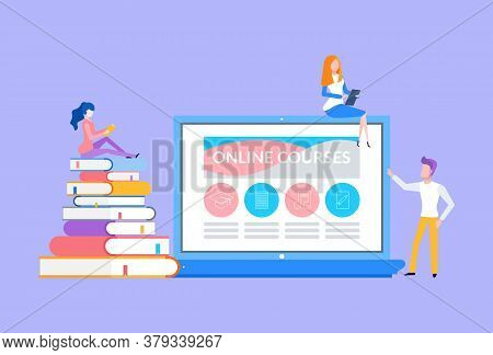 Online Courses People Sitting On Laptop And Books Vector. Bookworms And Modern Students Preparing Fo
