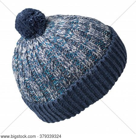 Knitted Blue Gray Hat Isolated On White Background.hat With Pompon .