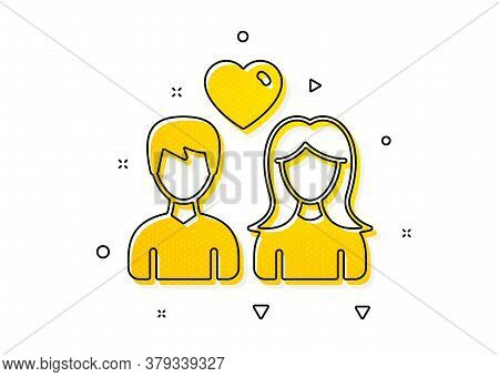 Users Group Sign. Couple With Heart Icon. Male And Female Person Silhouette Symbol. Yellow Circles P