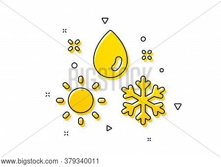 Winter Snowflake Sign. Weather Icon. Sun And Rain Symbol. Yellow Circles Pattern. Classic Weather Ic