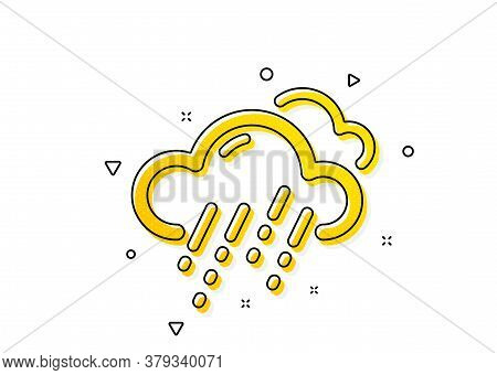 Clouds With Rain Sign. Rainy Weather Forecast Icon. Cloudy Sky Symbol. Yellow Circles Pattern. Class