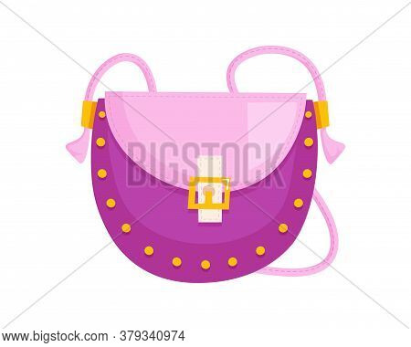 Woman Saddle Bag. Isolated Female Fashion Accessory. Beautiful Woman Handbag Glamour Style Design Wi