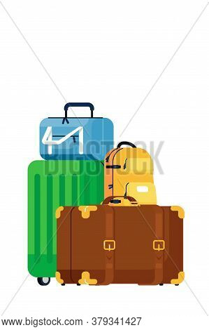 Luggage Bags. Isolated Retro And Modern Travel Suitcase And Backpack Baggage Pile Icon. Vector Trip