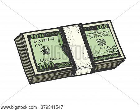 Pack Of Us Dollars Color Sketch Engraving Vector Illustration. T-shirt Apparel Print Design. Scratch
